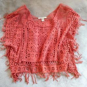 American Rag Coral Crochet Poncho/Tunic Top